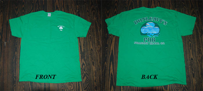 Dunleavy's Pub Green T-shirt. Front & Back Photo