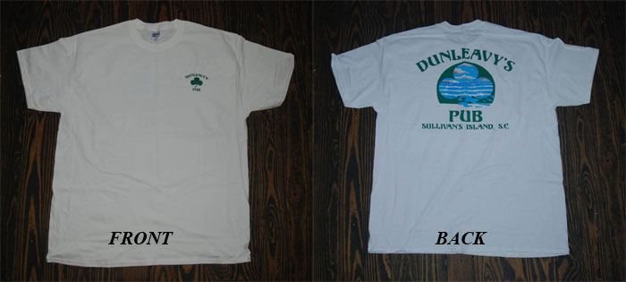 Dunleavy's Pub White T-shirt. Front & Back Photo