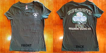 Dunleavy's Pub Green T-shirt. Front & Back Photo