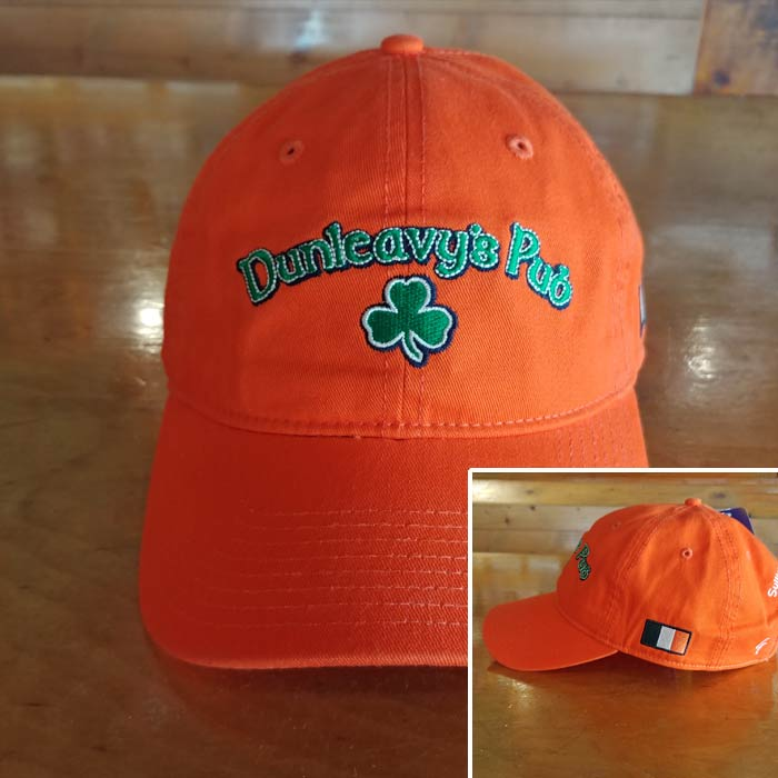 Bright Orange Dunleavy's Pub Baseball Cap